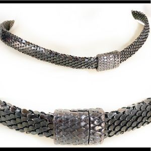 Vintage 70's Gunmetal Mesh Collar Choker Necklace